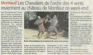 Read more about the article Midi Libre – Montaud: Les Chevaliers de l'ordre des 4 vents reviennent au château de Montlaur ce week-end